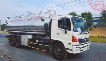 HINO FL chở xitec xăng dầu BỒN NHÔM